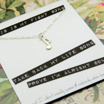 This is My Fight Song Necklace - Sterling Silver Music Note - Quote Card
