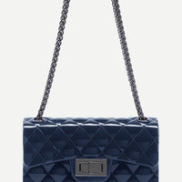 Plastic Quilted Flap Double Chain Bag -SheIn(Sheinside)