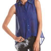 Studded Collar Hi-Low Blouse: Charlotte Russe