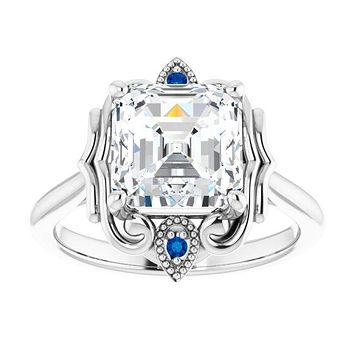 14K White Gold 8x8mm Asscher Moissanite & Natural Blue Sapphire Accented Engagement Ring