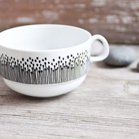 """Hand-painted vintage soup bowl """"somewhat angular"""", black and white"""