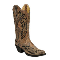 Corral Bronze & Black Sequence & Crystal Butterfly Boots R1211
