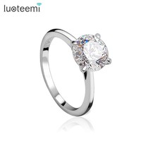 LUOTEEMI 2 Carat 8mm Hearts & Arrows CZ 925 Sterling Silver Ring Women Wedding Luxury Engagement Party Jewelry