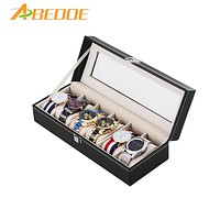 ABEDOE 6 Grid Slots PU Leather Watch Display Box Watches Case Jewelry Storage Holder Glass Top Organizer