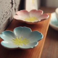 1pc Japanese style sakura Ceramic Kitchen Tool bowl dish Creative ceramic seasoning soy sauce vinegar small plates sushi sashimi