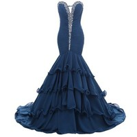 Mic Dresses Women's Long Chiffon Mermaid Party Dress Prom Gown Ruffles Rhinestones