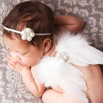 Doorbuster - Baby Newborn Angel Feather Wing Set - Holiday 2020 LIMITED QUANTITY