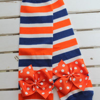 Florida Gator Leg Warmers -- orange and royal striped Leg Warmers -- bow leg warmers for baby girls