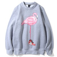 Flamingo & Jordan autumn and winter young men and women stylish round neck pullovers sweater Grey