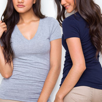 Allie Classic V-Neck Tee Set - Navy and Gray