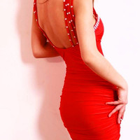 Red Strappy Cut-Out Mini Dress