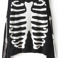 Black Long Sleeve Skeleton Print Knit Sweater - Sheinside.com