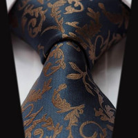Navy Blue and Gold Paisley Tie
