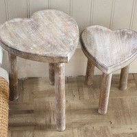 A Pair Of Heart Shape Tables / Stools