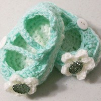 Baby Girl Shoes-Mint Green Double Sole Mary jane Shoes-Made in the USA