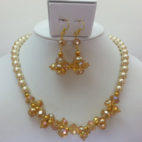 Gold Champagne Pearl and Swarovski Crystal Necklace and Matching Earrings - Glass Pearl, Bead Cluster, Hand Wired, Matching Set