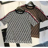 FENDI Summer Popular Casual Jacquard Round Collar Top T-Shirt Blouse