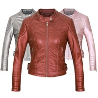 Brand Motorcycle PU Leather Jacket Women 2018 Winter And Autumn New Fashion Coat Brown Color Zipper Outerwear jacket coat HOT