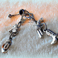 Country Cowgirl Belly Ring, Country, Gun, Handcuffs, Hipster, Navel, Bellybutton, Belly Bling, Piercing, Ready to Ship, Direct checkout