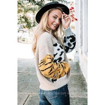 No Objections Multi Printed Fuzzy Sweater