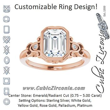 Cubic Zirconia Engagement Ring- The Viridiana (Customizable 5-stone Design with Radiant Cut Center and Quad Round-Bezel Accents)