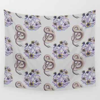 Snake N' Flowers Wall Tapestry by alphavariable