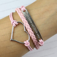 """Heart charm bracelet, bracelet """"where there is a will there is a way"""", encourage bracelet, gifts"""
