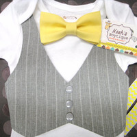 Yellow Bow Tie Baby Suit - Baby Easter Outfit - Tuxedo - Grey Pinstripe Baby Vest - Baby Boy Clothes - Baby Boy Outfit with Bow Tie