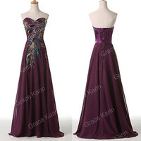 Peacock Sequin Cocktail Formal Masqurade Prom Party Evening Ball Gown Long Dress