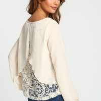 Floral Embroidered Organza Blouse