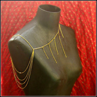 gold body chain harness necklace by alapopjewelry