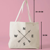 TBAG-348 - Arrow Compass - Wanderlust - Travel - Hipster - Printed Tote Bag Canvas - by HeartOnMyFingers