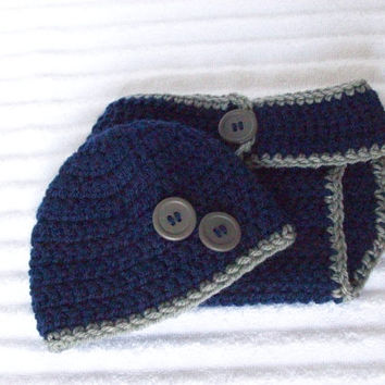 Baby Boy Diaper Cover Set in Navy Blue and Grey, Crochet Diaper Cover Set, Diaper Cover and Hat Set, Newborn Diaper Cover