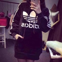 """Adidas"" Women Sport Fashion Velvet Stripe Middle Long Section Long Sleeve Hooded Sweater Mini Dress"