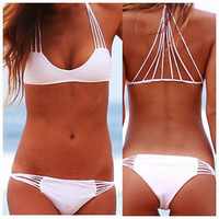 Sexy Women's Swimsuit Strappy Back String Bikini Set Swimwear Bathing Suit White