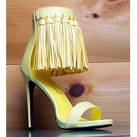 Privileged Yellow Open Toe Tassel Fringe Closed Back Stiletto High Heel Shoes
