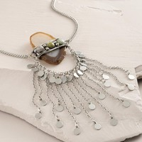 Silver and Agate Necklace with Chain Fringe