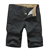SHORTS Men's 100% cotton cool summer casual men's beach clothing military big pockets
