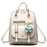 Nice Autumn Girls Fashion Leather Backpack With Kawaii Plush Bear Female Big Backpack/School Bag Famous Brand lady's Leisure Bag