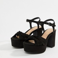 Bershka knot detail platform sandals in black at asos.com