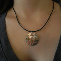 Mop Shell Pendant Necklace with adjustable black chord