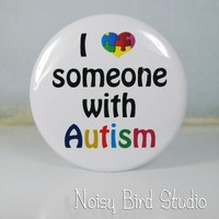 Hand Compact Pocket Mirror - 84m - I Love Someone with Autism | NoisyBirdStudio - Novelty on ArtFire