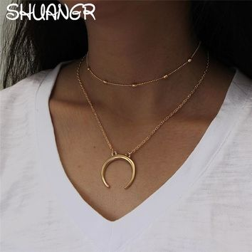 SHUANGR Charms Moon Choker Necklaces Vintage 2017 New Fashion Pendant Necklace Boho Double Layer Kolye Jewelry for Women