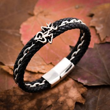 Buck and Doe and Baby Deer Leather Bracelet