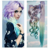 Ice Storm Purple Blue Ombre Dip Dyed Human Hair Extensions, Full Set Clip In Extensions, Hippie, Festival, Tye Dye Hair, Hair Weft