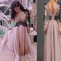 Backless Long Sleeve Applique Prom Dresses