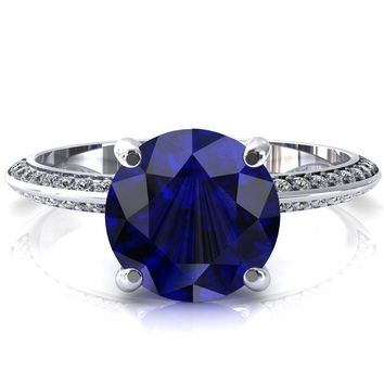 Nancy Round Blue Sapphire 4 Prong 1/2 Eternity Diamond Knife Shank Accent Engagement Ring