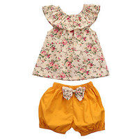 Baby Girl Floral Short Sleeve Top and Pant 2pc Set Size 3-24M