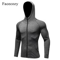 Facecozy Men New Training Jacket Hooded Running Fitness Tight  Breathable Jackets Yoga Quick Dry Sport Wear Active Top