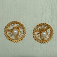 BOUCHER Pinwheel Clip Earrings with Pearls Vintage Jewelry